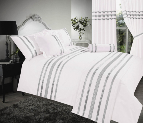 WHITE & SILVER COLOUR STYLISH SEQUIN DUVET COVER LUXURY BEAUTIFUL GLAMOUR SPARKLE EGYPTIAN COTTON BEDDING